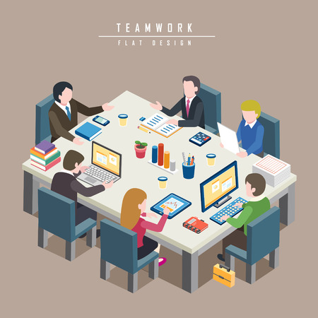 teamwork cartoon: flat 3d isometric design of teamwork concept