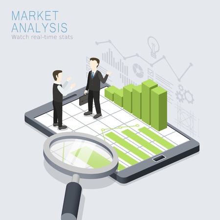 the project: flat 3d isometric design of market analysis concept