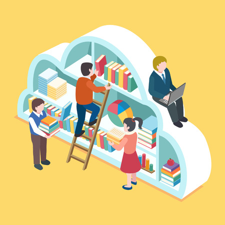 in library: flat 3d isometric design of cloud service concept