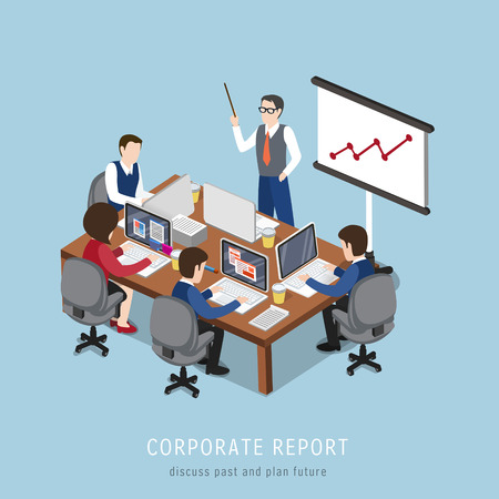 flat 3d isometric design of corporate report concept