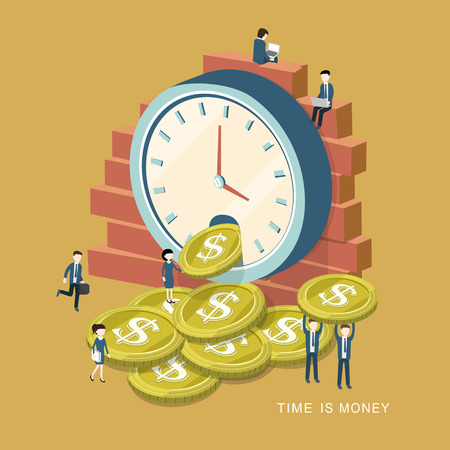 clock: flat 3d isometric design of time is money concept