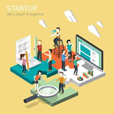 개념: 사업 시작 개념의 평면 3D 아이소 메트릭 디자인 일러스트
