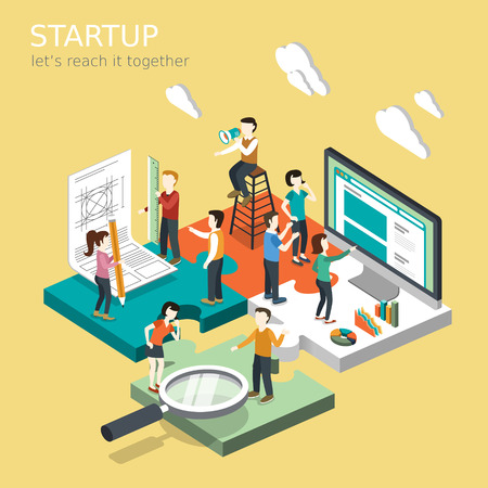 team working: flat 3d isometric design of business startup concept
