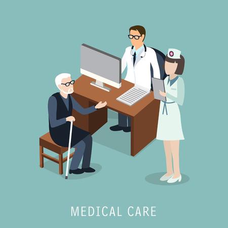 medico caricatura: diseño 3D isométrica plano del concepto de atención médica Vectores