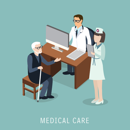 hospital cartoon: flat 3d isometric design of medical care concept
