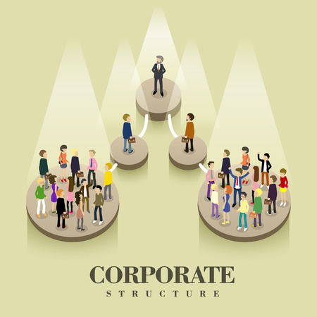 person: flat 3d isometric design of corporate structure concept