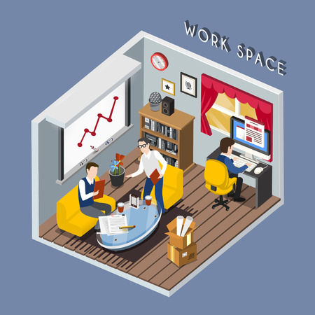 office staff: flat 3d isometric design of work space concept