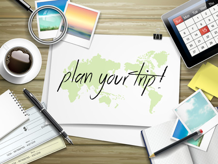 plan: top view of travel items on wooden table with plan your trip written on paper Illustration