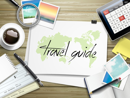 travel guide: top view of travel items on wooden table with travel guide written on paper Illustration