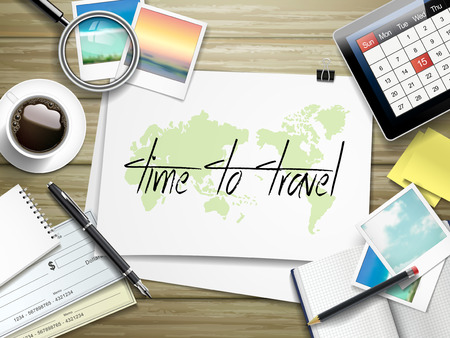 wooden table top view: top view of travel items on wooden table with time to travel written on paper Illustration