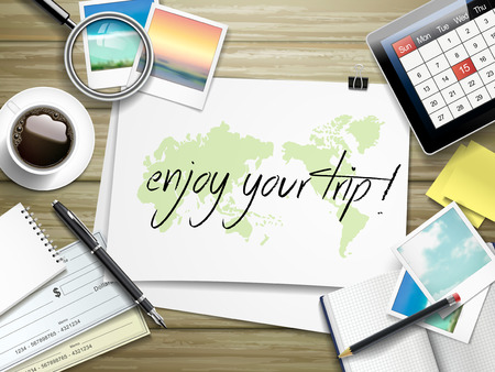 voyage: top view of travel items on wooden table with enjoy your trip written on paper Illustration