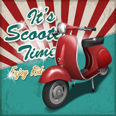 reise retro: scooter Reise-Konzept Plakatgestaltung mit Retro-Hintergrund