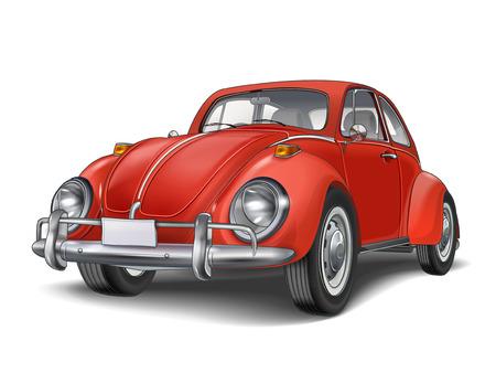 白い背景に分離されたベテラン古典的な小さな赤い車  イラスト・ベクター素材