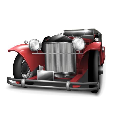 curare teneramente: classica auto rossa isolato su sfondo bianco Vettoriali