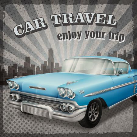 retro grunge: veteran classic blue car with retro car travel concept background Illustration