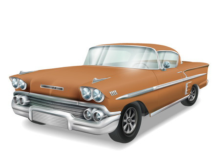 old car: veteran classic brown car isolated on white background Illustration