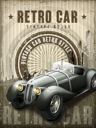 attractive retro car design poster with vintage background Ilustracja