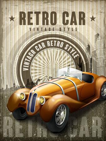 빈티지 배경으로 매력적인 복고풍 자동차 디자인 포스터