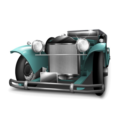 old car: classic turquoise car isolated on white background Illustration