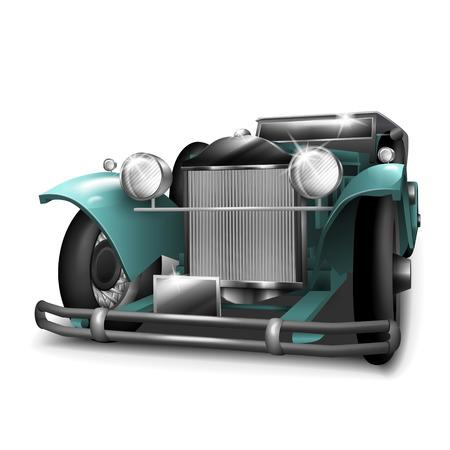 antique car: classic turquoise car isolated on white background Illustration