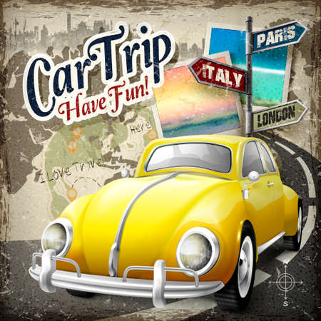 take a history: attractive car trip poster design with retro yellow car heading on the road Illustration