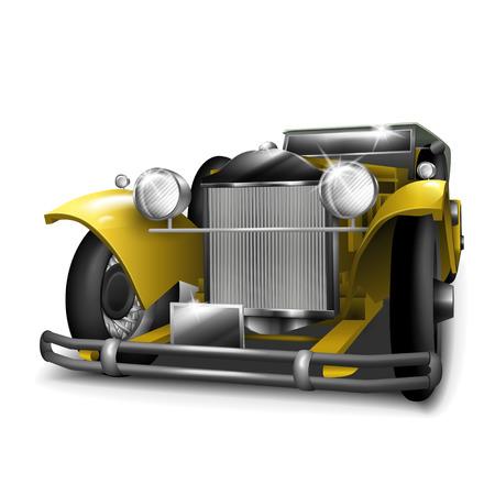 curare teneramente: classico auto gialla isolato su sfondo bianco Vettoriali