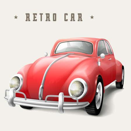 carro caricatura: dise�o retro coche rojo aislado en el fondo blanco
