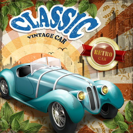 car leaf: classic car poster design with simplicity city background