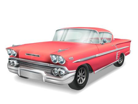 cherish: veteran classic red car isolated on white background Illustration