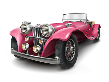 흰색 배경에 고립 된 매력적인 클래식 핑크 차 일러스트