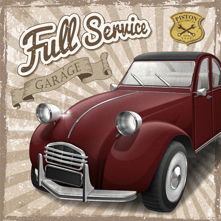 poser: attractive retro car design poster with vintage background Illustration