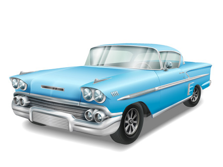 베테랑 클래식 파란 차가 흰색 배경에 고립 된