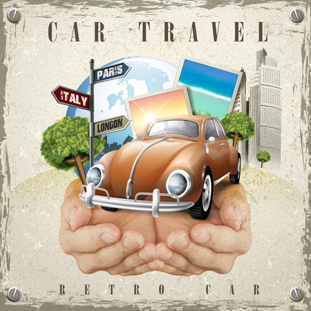 cherish: vivid car travel poster design with hands holding an attractive car Illustration