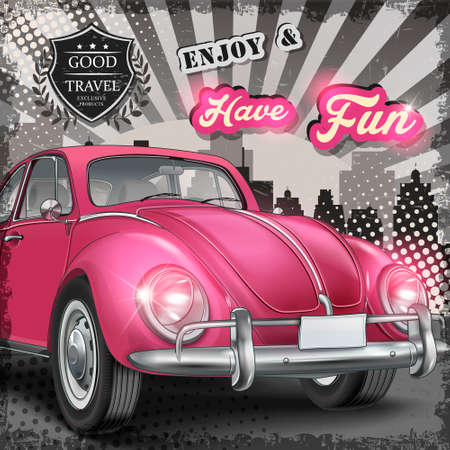 shiny car: veteran classic small pink car with retro travel concept  background Illustration