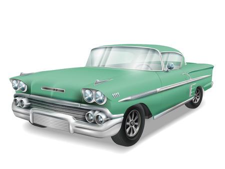 베테랑 클래식 녹색 자동차 흰색 배경에 고립 된