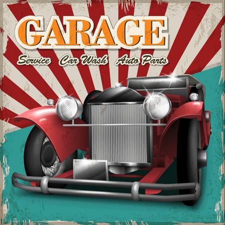 Cartel clásico de diseño de los coches de color rojo con fondo retro Foto de archivo - 42445372