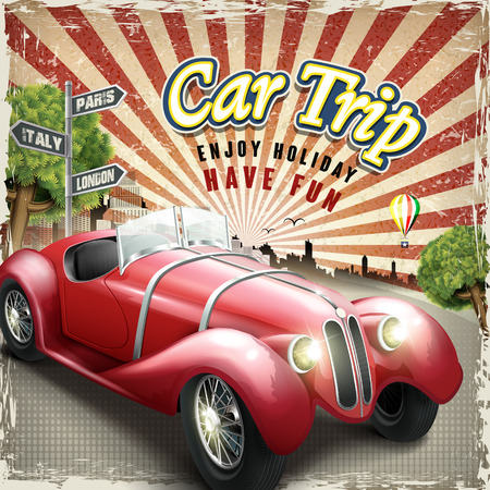 attractive retro car trip design poster with colorful city background Vectores