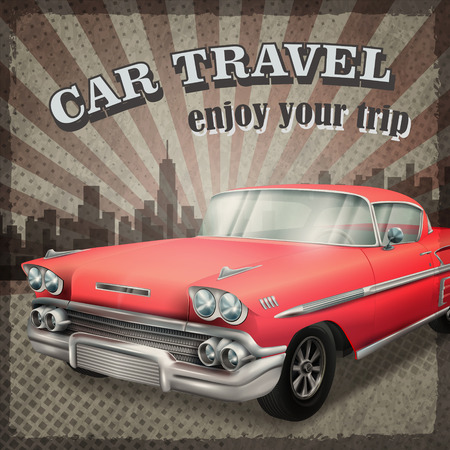 veteran classic red car with retro car travel concept background Illustration