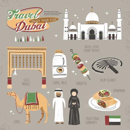 dubai: travel concept of Dubai in lovely flat style