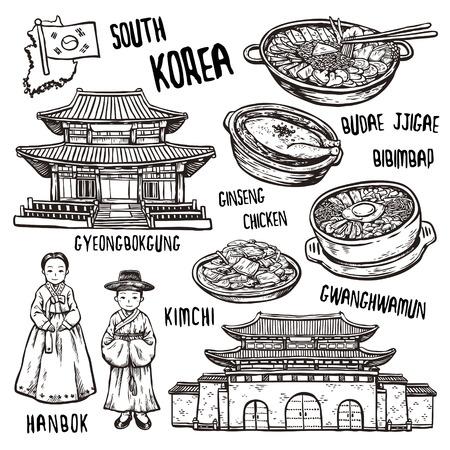 絶妙な手描きのスタイルで韓国の旅行の概念  イラスト・ベクター素材