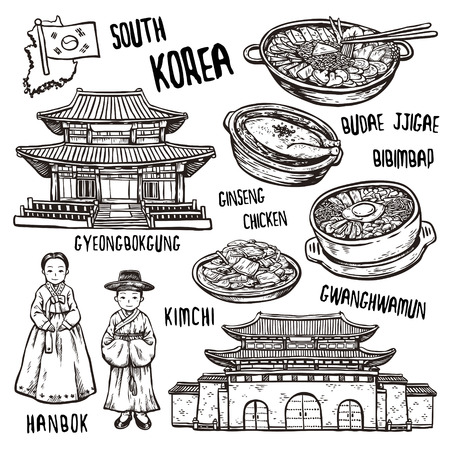 korea food: travel concept of south Korea in exquisite hand drawn style Illustration