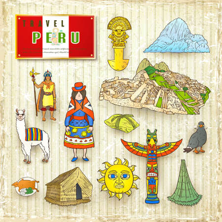 picchu: travel concept of Peru in hand drawn style