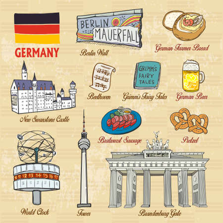 popular tale: travel concept of Germany in exquisite hand drawn style Illustration