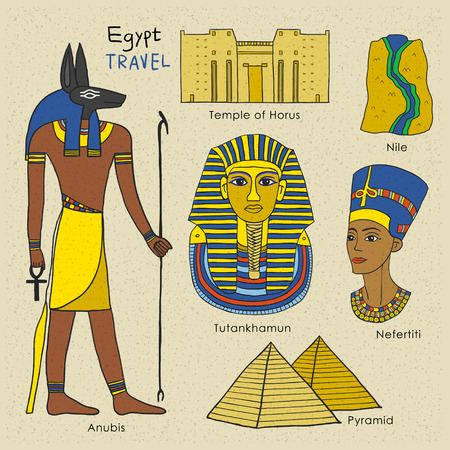 monumental: travel concept of Egypt in stylish hand drawn style