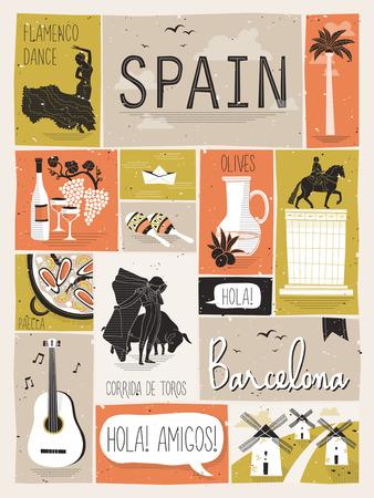 フラットなデザイン スタイルのスペイン旅行の概念  イラスト・ベクター素材