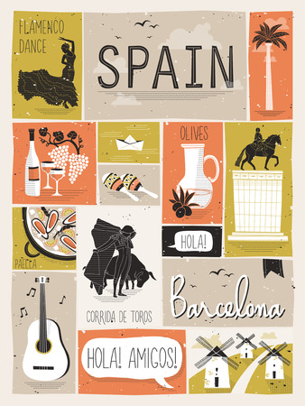 travel concept of Spain in flat design style Иллюстрация