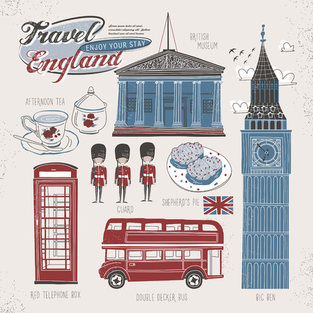 Concetto di viaggiare in Inghilterra bello stile piatto Archivio Fotografico - 42445610