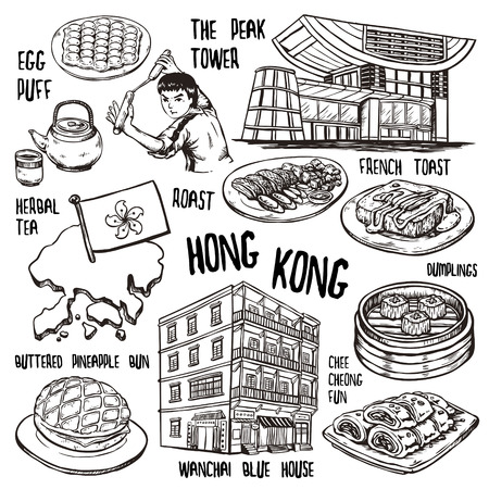 travel concept of Hong Kong in exquisite hand drawn style