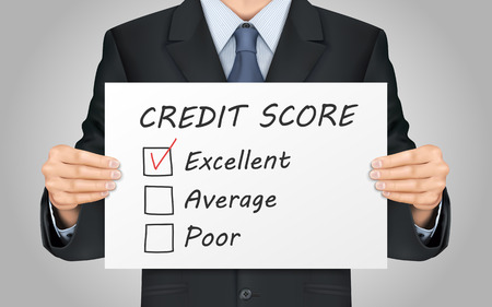 trusty: close-up look at businessman holding credit score survey poster Illustration
