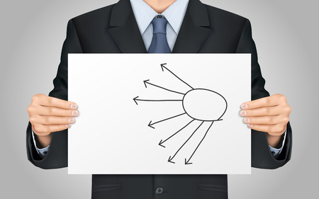 centralize: close-up look at businessman holding blank flow chart